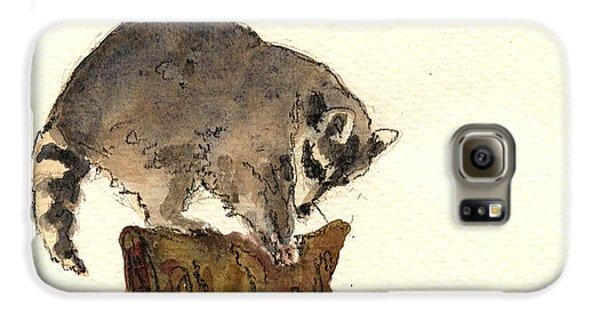 Raccoon Galaxy S6 Case by Juan  Bosco