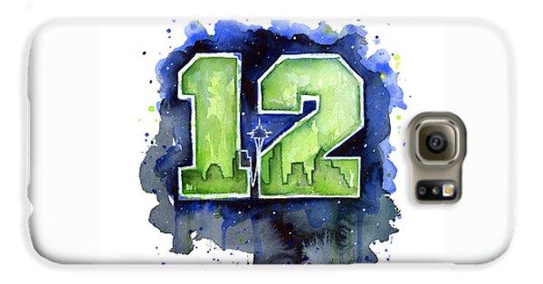 12th Man Seahawks Art Seattle Go Hawks Galaxy S6 Case by Olga Shvartsur