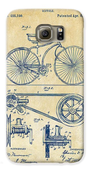 1890 Bicycle Patent Artwork - Vintage Galaxy S6 Case by Nikki Marie Smith