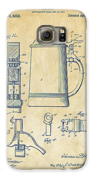 1914 Beer Stein Patent Artwork - Vintage Galaxy S6 Case by Nikki Marie Smith