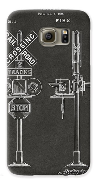 1936 Rail Road Crossing Sign Patent Artwork - Gray Galaxy S6 Case by Nikki Marie Smith