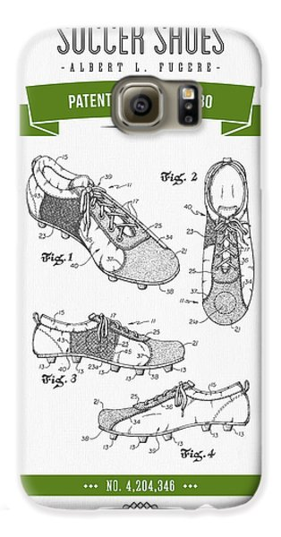 1980 Soccer Shoes Patent Drawing - Retro Green Galaxy S6 Case by Aged Pixel