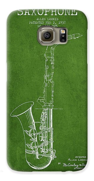 Saxophone Patent Drawing From 1937 - Green Galaxy S6 Case by Aged Pixel