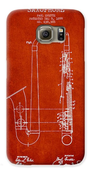 Saxophone Patent Drawing From 1899 - Red Galaxy S6 Case by Aged Pixel