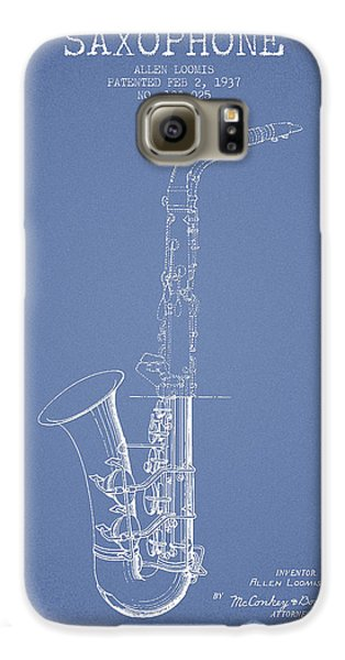 Saxophone Patent Drawing From 1937 - Light Blue Galaxy S6 Case by Aged Pixel