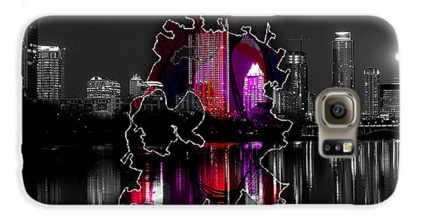 Austin Map And Skyline Watercolor Galaxy S6 Case by Marvin Blaine