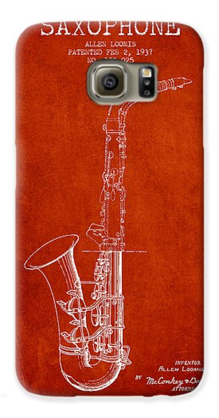 Saxophone Patent Drawing From 1937 - Red Galaxy S6 Case by Aged Pixel