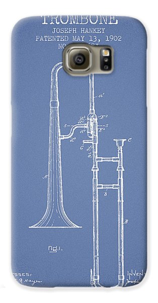 Trombone Patent From 1902 - Light Blue Galaxy S6 Case by Aged Pixel