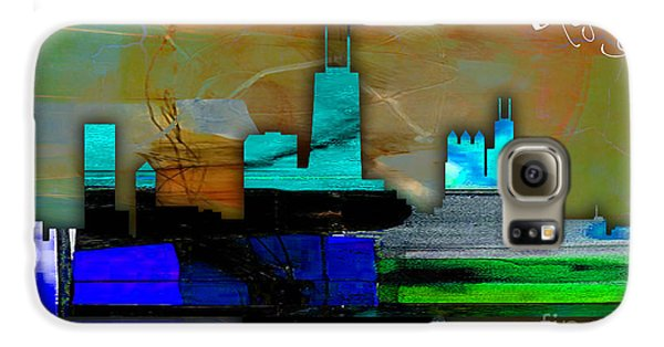 Chicago Skyline Watercolor Galaxy S6 Case by Marvin Blaine
