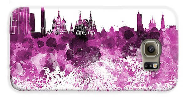 Moscow Skyline White Background Galaxy S6 Case by Pablo Romero