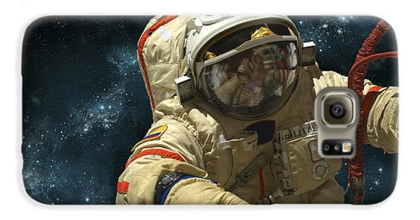 A Cosmonaut Against A Background Galaxy S6 Case by Marc Ward