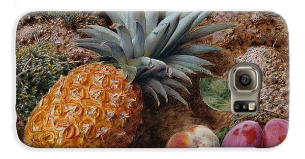 A Pineapple A Peach And Plums On A Mossy Bank Galaxy S6 Case by John Sherrin