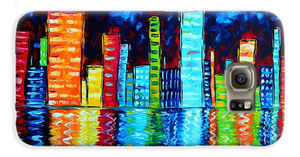 Abstract Art Landscape City Cityscape Textured Painting City Nights II By Madart Galaxy S6 Case by Megan Duncanson