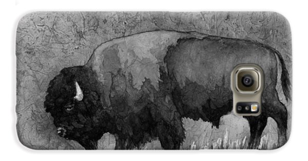 Monochrome American Buffalo 3  Galaxy S6 Case by Hailey E Herrera