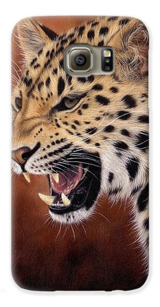 Amur Leopard Painting Galaxy S6 Case by Rachel Stribbling