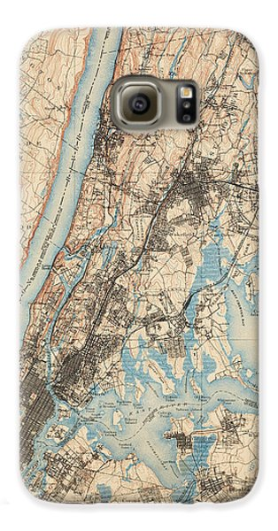 Antique Map Of New York City - Usgs Topographic Map - 1900 Galaxy S6 Case by Blue Monocle