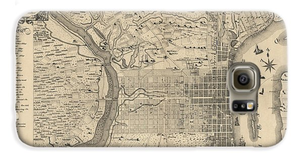 Antique Map Of Philadelphia By P. C. Varte - 1875 Galaxy S6 Case by Blue Monocle