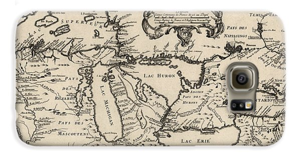 Antique Map Of The Great Lakes By Jacques Nicolas Bellin - 1755 Galaxy S6 Case by Blue Monocle