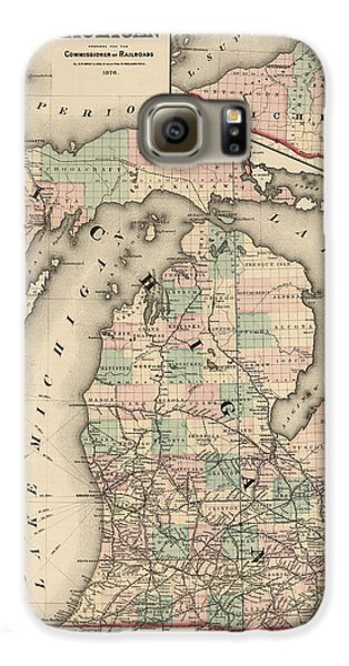 Antique Railroad Map Of Michigan By Colton And Co. - 1876 Galaxy S6 Case by Blue Monocle