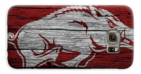 Arkansas Razorbacks On Wood Galaxy S6 Case by Dan Sproul