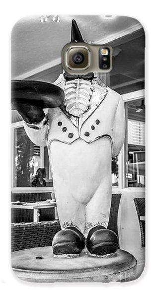 Art Deco Penguin Waiter South Beach Miami - Black And White Galaxy S6 Case by Ian Monk