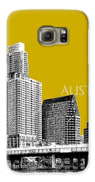 Austin Texas Skyline - Gold Galaxy S6 Case by DB Artist