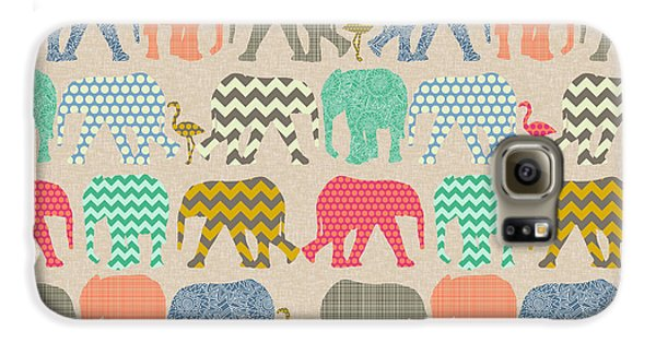 Baby Elephants And Flamingos Linen Galaxy S6 Case by Sharon Turner