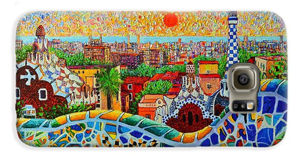 Barcelona View At Sunrise - Park Guell  Of Gaudi Galaxy S6 Case by Ana Maria Edulescu