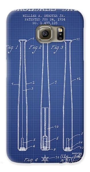 Baseball Bat Patent From 1924 - Blueprint Galaxy S6 Case by Aged Pixel