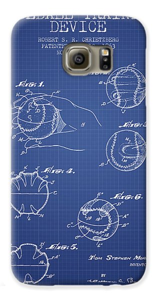 Baseball Cover Patent From 1963- Blueprint Galaxy S6 Case by Aged Pixel