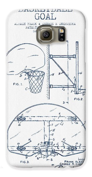 Basketball Goal Patent From 1944 - Blue Ink Galaxy S6 Case by Aged Pixel