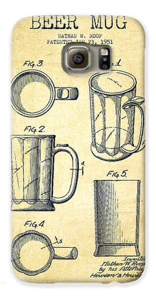Beer Mug Patent Drawing From 1951 - Vintage Galaxy S6 Case by Aged Pixel