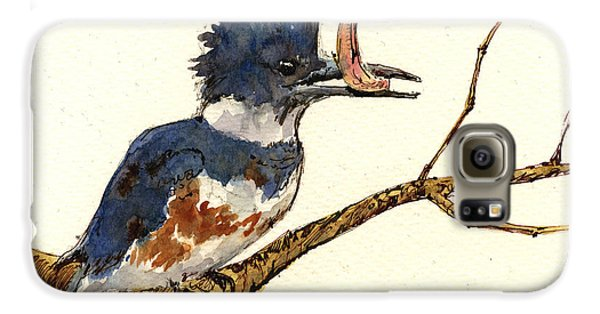 Belted Kingfisher Bird Galaxy S6 Case by Juan  Bosco