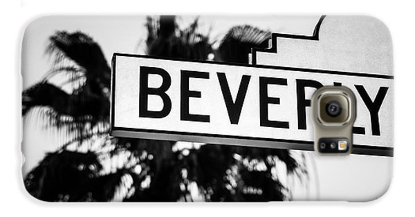 Beverly Boulevard Street Sign In Black An White Galaxy S6 Case by Paul Velgos