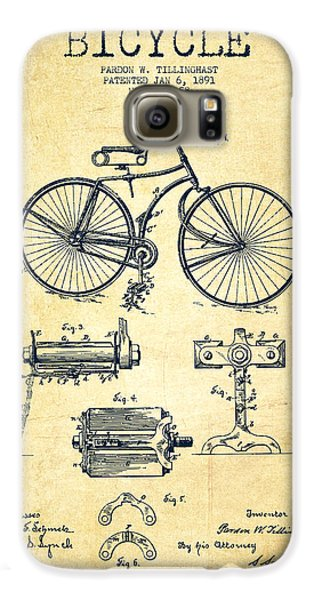 Bicycle Patent Drawing From 1891 - Vintage Galaxy S6 Case by Aged Pixel