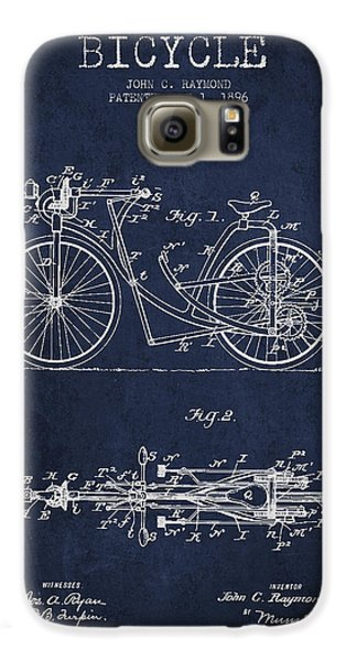 Bicycle Patent Drawing From 1896 - Navy Blue Galaxy S6 Case by Aged Pixel