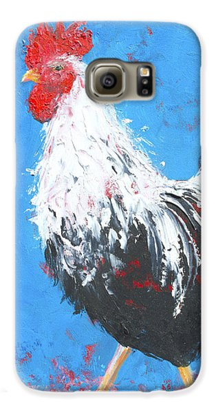 Black And White Rooster On Blue  Galaxy S6 Case by Jan Matson