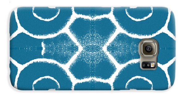 Blue And White Wave Tile- Abstract Art Galaxy S6 Case by Linda Woods