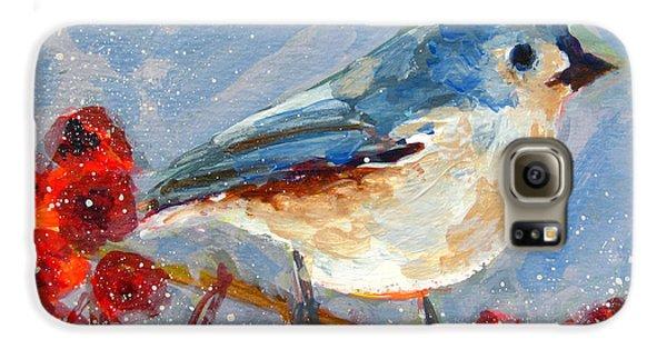 Blue Bird In Winter - Tuft Titmouse Modern Impressionist Art Galaxy S6 Case by Patricia Awapara