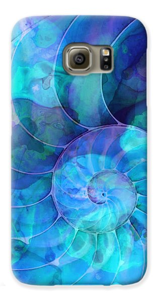Blue Nautilus Shell By Sharon Cummings Galaxy S6 Case by Sharon Cummings