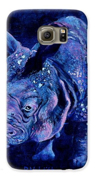 Indian Rhino - Blue Galaxy S6 Case by Paula Noblitt