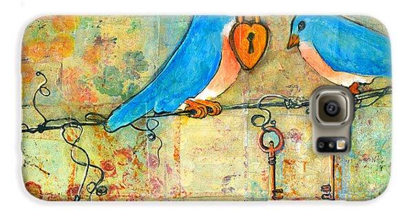 Bluebird Painting - Art Key To My Heart Galaxy S6 Case by Blenda Studio