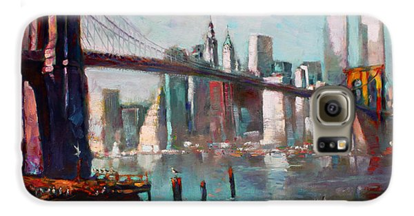 Brooklyn Bridge And Twin Towers Galaxy S6 Case by Ylli Haruni