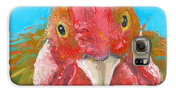 Brown Rooster On Blue Galaxy S6 Case by Jan Matson
