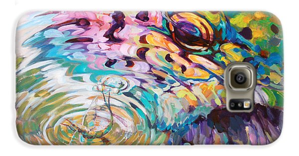 Brown Trout And Mayfly - Abstract Fly Fishing Art  Galaxy S6 Case by Savlen Art