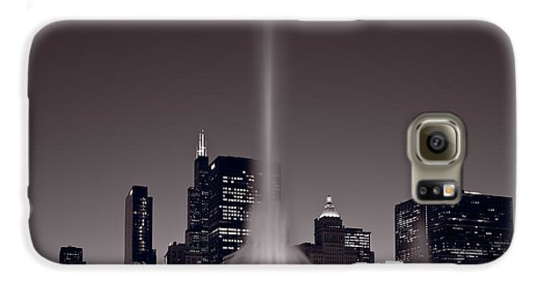Buckingham Fountain Nightlight Chicago Bw Galaxy S6 Case by Steve Gadomski
