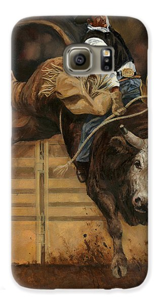 Bull Riding 1 Galaxy S6 Case by Don  Langeneckert