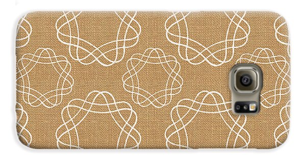 Burlap And White Geometric Flowers Galaxy S6 Case by Linda Woods