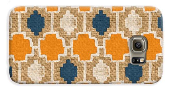 Burlap Blue And Orange Design Galaxy S6 Case by Linda Woods