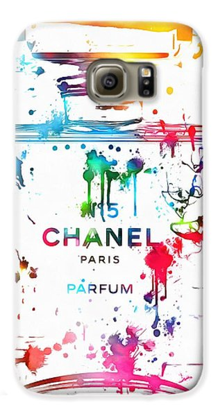 Chanel Number Five Paint Splatter Galaxy S6 Case by Dan Sproul